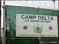 The main gate of Camp Delta in Guantanamo Bay