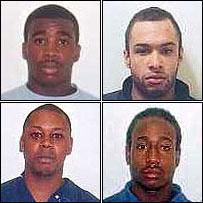 The four defendants, from top left clockwise Davidson, Gamble Sinclair, Nelson