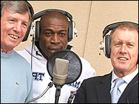 Tonedef Allstars members Martin Peters, Frank Bruno and Sir Geoff Hurst