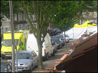 View of Lansdown Road after raid