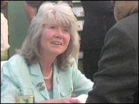 Jilly Cooper signs copies of her book at Hay