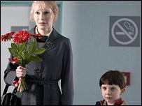 Mia Farrow (left) with Seamus Davey-Fitzpatrick