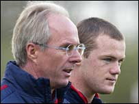 Sven-Goran Eriksson (l) and Wayne Rooney