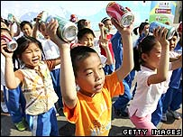 Children in Beijing practise a dance for International Children's Day