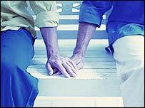 Men holding hands