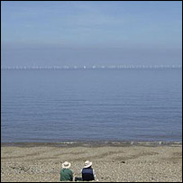 Scira's visualisation of what the wind farm will look like from the coast