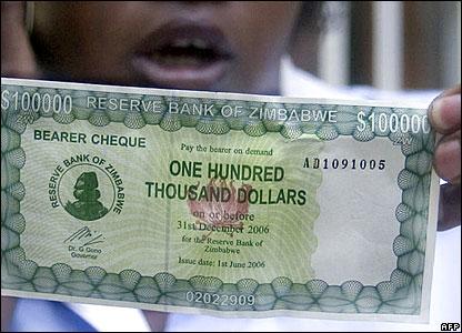 A new 100,000 Zimbabwean dollar bearer cheque