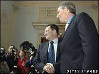 Romano Prodi and Tony Blair