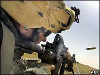US marine on firing range in Iraq