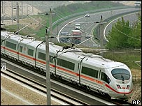An inter-city train in Germany