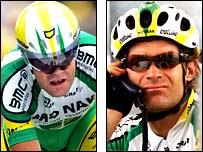 Phonak riders Jose Enrique Gutierrez (left) and Santiago Botero