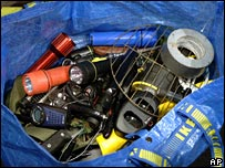 Equipment seized by police during the raid