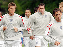 David Beckham and the team training