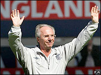 Sven-Goran Eriksson salutes the England crowd