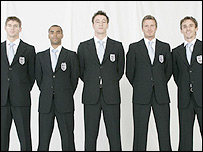 Gerrard, Cole, Terry, Beckham, Neville, in their Germany 2006 Armani suits