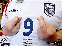 England fan in an England shirt