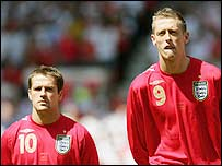 England striker's Michael Owen (left) and Peter Crouch are set to start in England's opening World Cup game against Paraguay
