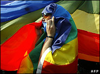 Marcher at the Bucharest GayFest