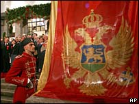 Flag is raised in Montenegro parliament