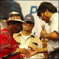 Evo Morales hands over land titles