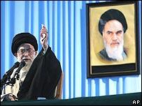 Iran's Supreme Leader Ayatollah Ali Khamenei speaks on Sunday