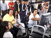Hugo Chávez en estudio de cine