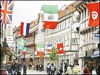 Banderas en una calle de Alemania