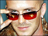 David Beckham promoting sunglasses
