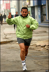 Ollanta Humala jogs before casting his vote