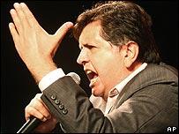 Peruvian presidential candidate Alan Garcia