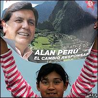 Girl holds promotional poster for Peruvian presidential candidate Alan Garcia