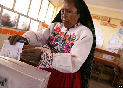 Voter in Peru