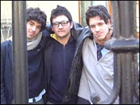 Liceo Lastarria pupils Javier Soval (left) Federico Hernandez (centre) and Diego Gustavo (right