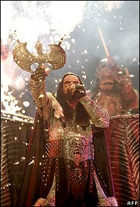 Lordi performing at the Eurovision Song Contest