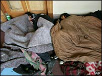 Students asleep on the floor at the Liceo de Aplicacion