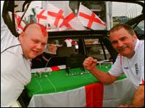Dan and Richard Woods at Luton Airport