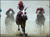 Jockey Jesse Perez rides cloned mule Idaho Gem (C) (AP)
