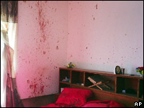 Blood spattered walls of a bedroom at the reported scene of the Haditha shooting