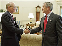 US Ambassador Ronald Neumann (left) with George Bush in the White House