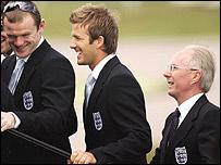 Wayne Rooney, David Beckham and Sven-Goran Eriksson board the plane