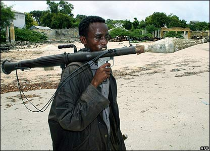 A fighter with a rocket launcher in Sisi neighbourhood in north Mogadishu on 4 June 2006
