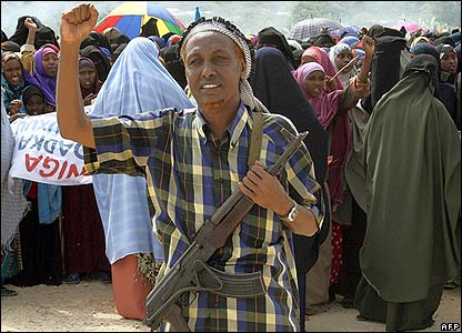 A Somali militiaman at a protest over alleged US backing for the warlords on 2 June 2006