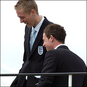 Peter Crouch and Wayne Bridge share a joke