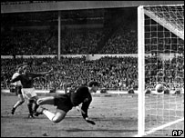 Geoff Hurst's controversial third goal in the 1966 World Cup at Wembley