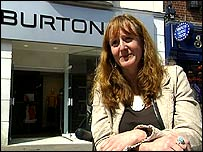 Photo of Joanne Holland in front of a Burton shop