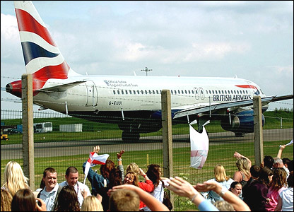 The England plane prepares to leave Luton airport