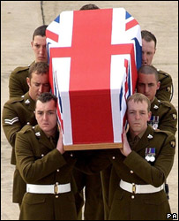 Soldiers with coffin