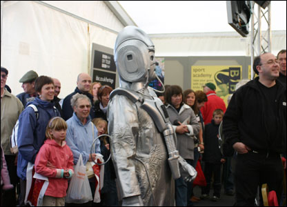 SUFFOLK -  Cyberman watches the event.