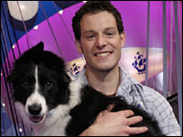 Matt Baker and Meg the sheepdog