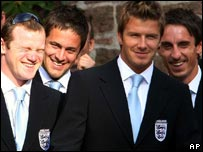 The England players before they flew out for Germany